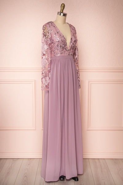 Aliana Mauve Lilac Floral Embroidered A-Line Gown side view | Boutique 1861