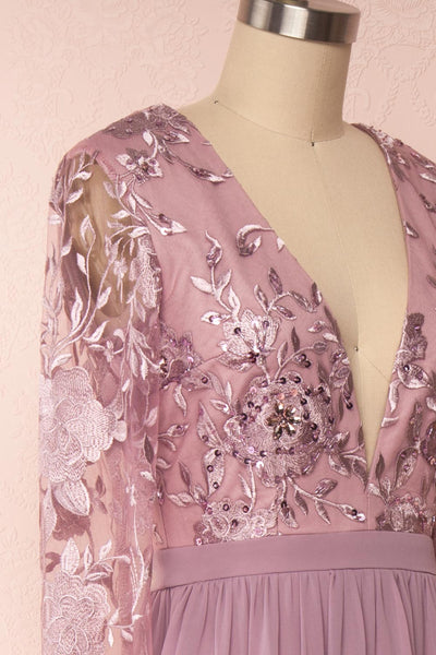 Aliana Mauve Lilac Floral Embroidered A-Line Gown side close up | Boutique 1861