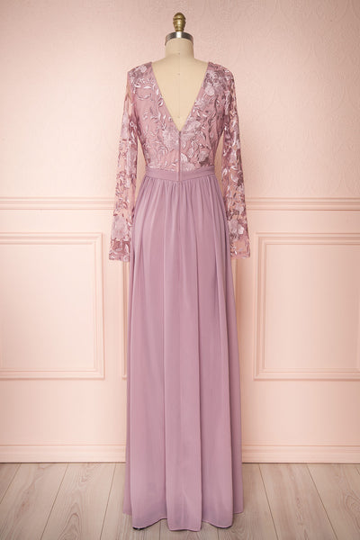 Aliana Mauve Lilac Floral Embroidered A-Line Gown back view | Boutique 1861