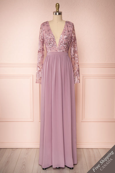 Aliana Mauve Lilac Floral Embroidered A-Line Gown face view | Boutique 1861