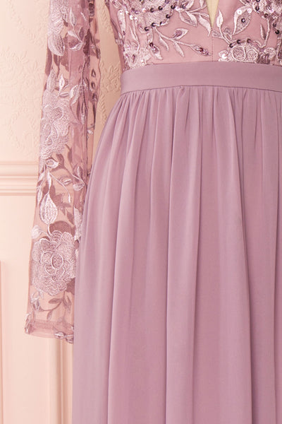 Aliana Mauve Lilac Floral Embroidered A-Line Gown sleeve close up | Boutique 1861