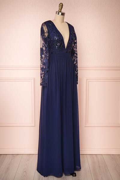 Aliana Navy Blue Floral Embroidered A-Line Gown side close up | Boutique 1861