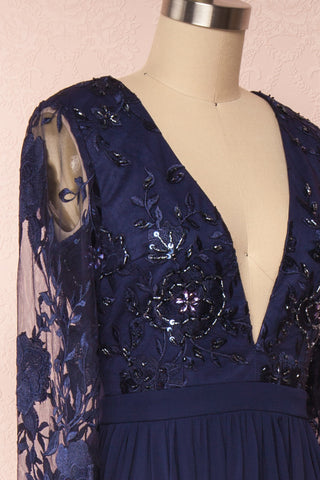 Aliana Navy Blue Floral Embroidered A-Line Gown side | Boutique 1861