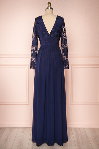 Aliana Navy Blue Floral Embroidered A-Line Gown back view | Boutique 1861