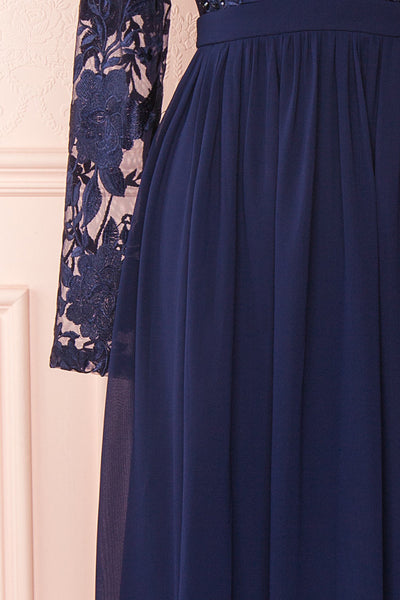 Aliana Navy Blue Floral Embroidered A-Line Gown sleeve close up | Boutique 1861