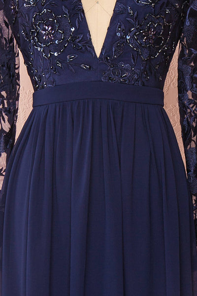 Aliana Navy Blue Floral Embroidered A-Line Gown texture details | Boutique 1861