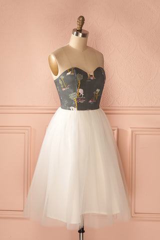 Alie Unicorn - Playful print white tulle bustier dress 3