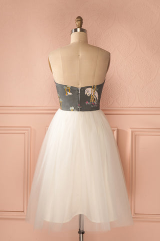 Alie Unicorn - Playful print white tulle bustier dress 5