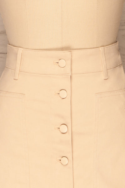 Alijo Beige Button-Up Mini Skirt with Pockets | La Petite Garçonne front close-up