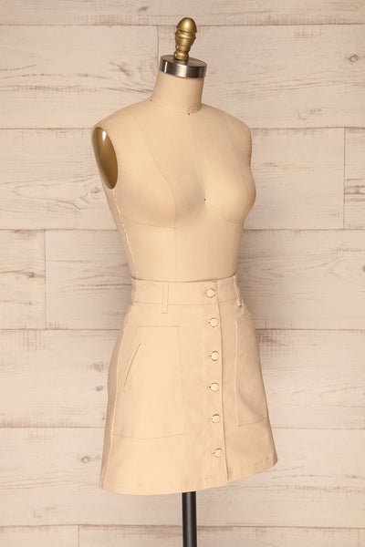 Alijo Beige Button-Up Mini Skirt with Pockets | La Petite Garçonne side view