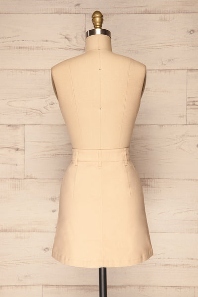 Alijo Beige Button-Up Mini Skirt with Pockets | La Petite Garçonne back view