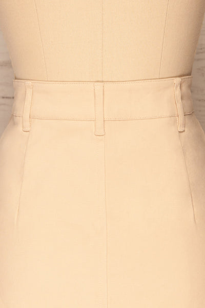 Alijo Beige Button-Up Mini Skirt with Pockets | La Petite Garçonne back close-up