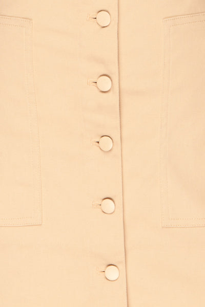 Alijo Beige Button-Up Mini Skirt with Pockets | La Petite Garçonne fabric detail
