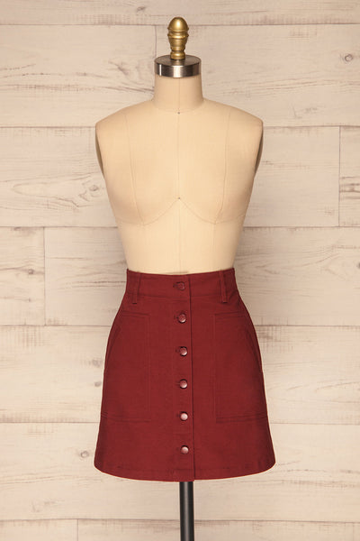 Alijo Burgundy Button-Up Mini Skirt with Pockets | La Petite Garçonne front view