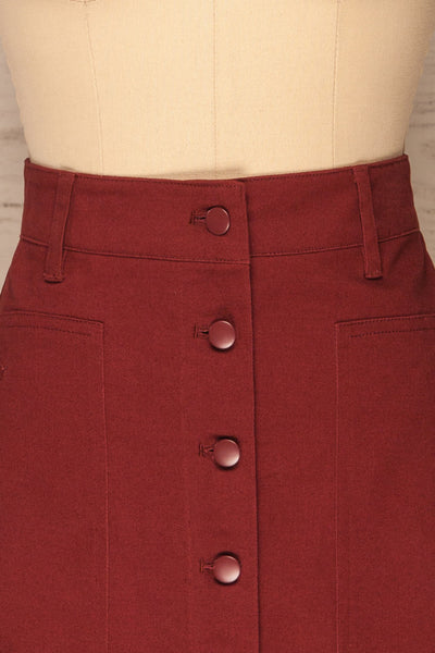 Alijo Burgundy Button-Up Mini Skirt with Pockets | La Petite Garçonne front close-up