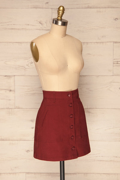 Alijo Burgundy Button-Up Mini Skirt with Pockets | La Petite Garçonne side view