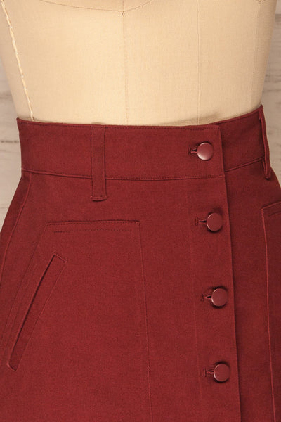 Alijo Burgundy Button-Up Mini Skirt with Pockets | La Petite Garçonne side close-up