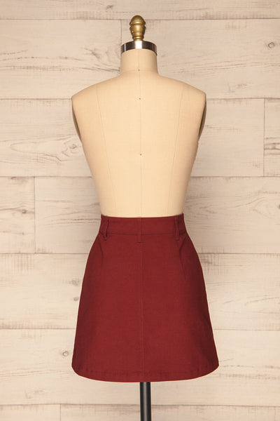 Alijo Burgundy Button-Up Mini Skirt with Pockets | La Petite Garçonne back view
