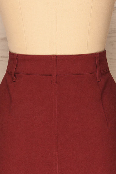 Alijo Burgundy Button-Up Mini Skirt with Pockets | La Petite Garçonne back close-up