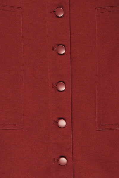 Alijo Burgundy Button-Up Mini Skirt with Pockets | La Petite Garçonne fabric detail