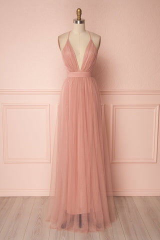 Aliki Blush Dusty Pink Mesh Maxi Dress | Boutique 1861