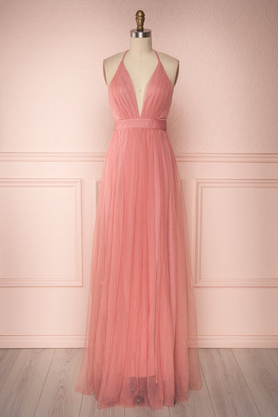 Aliki Dusty Pink Mesh Maxi Dress | Boutique 1861