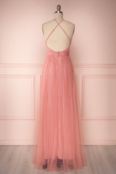 Aliki Dusty Pink | Plunging Neckline Mesh Maxi Dress
