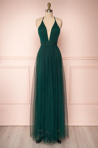 Aliki Green Forest Green Mesh Maxi Dress | Boutique 1861 1