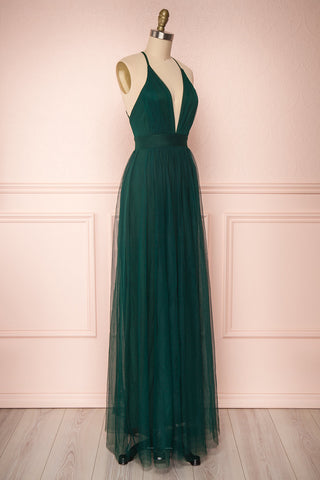 Aliki Green Forest Green Mesh Maxi Dress | Boutique 1861 3