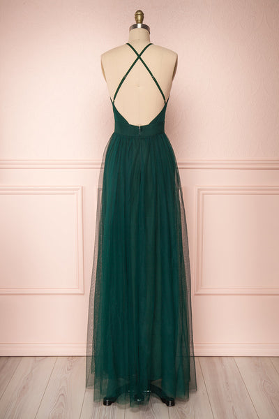 Aliki Green Forest Green Mesh Maxi Dress | Boutique 1861 5
