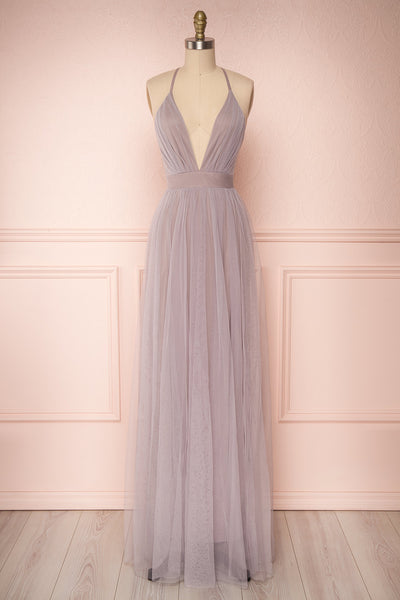 Aliki Lilac Pale Purple Mesh Maxi Dress | Boutique 1861 1