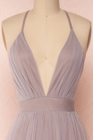 Aliki Lilac Pale Purple Mesh Maxi Dress | Boutique 1861 2