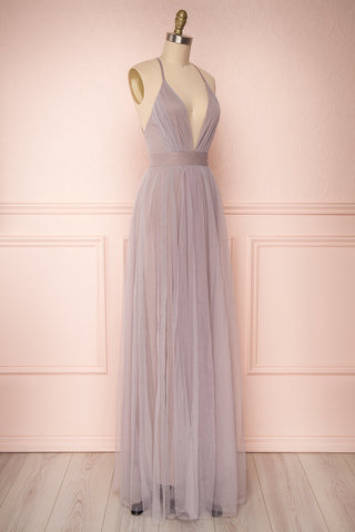 Aliki Lilac Pale Purple Mesh Maxi Dress | Boutique 1861 3