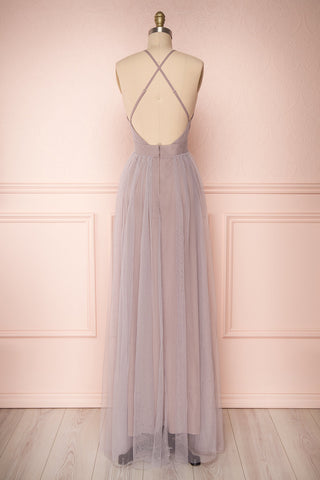 Aliki Lilac Pale Purple Mesh Maxi Dress | Boutique 1861 5