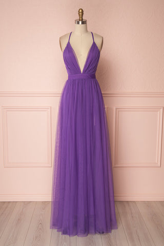 Aliki Purple Mesh Maxi Dress | Boutique 1861