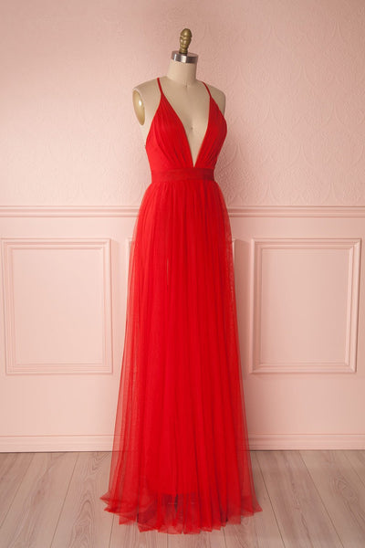 Aliki Red Mesh Plunging Neckline Maxi Dress | Boutique 1861 4