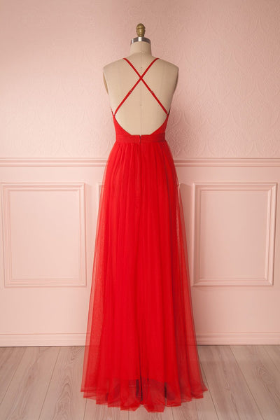 Aliki Red Mesh Plunging Neckline Maxi Dress | Boutique 1861 6