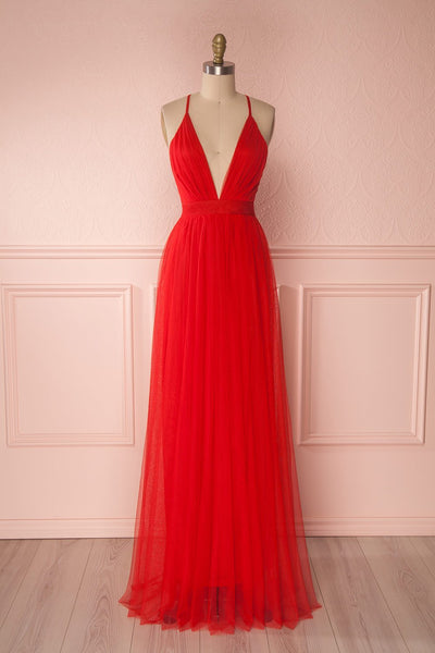 Aliki Red Mesh Plunging Neckline Maxi Dress | Boutique 1861 1