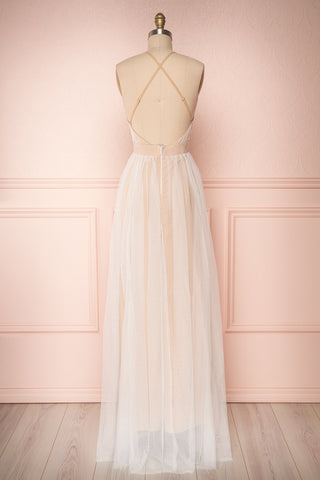 Aliki Taupe & White Mesh Maxi Dress | Boutique 1861 back view