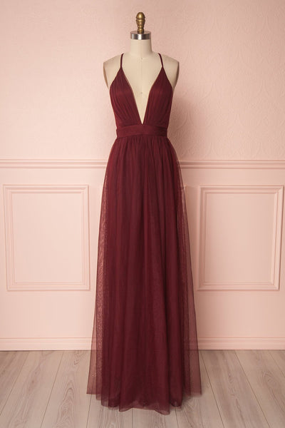 Aliki Wine Burgundy Mesh Maxi Dress | Boutique 1861