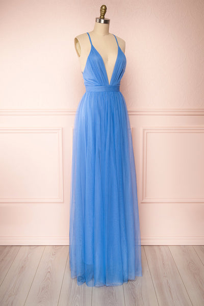 Aliki Blue Mesh Maxi Dress | Boutique 1861 side view