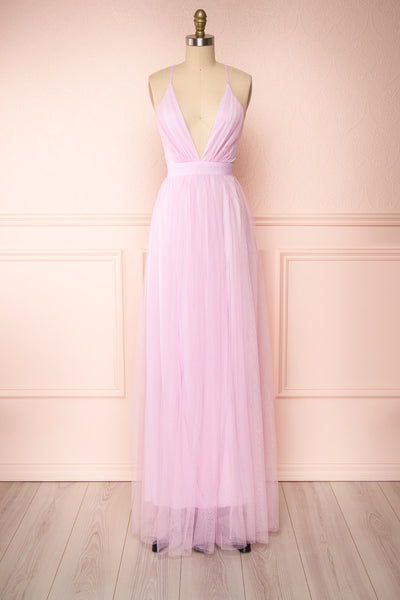 Aliki Lavender Pink Mesh Maxi Dress | Boutique 1861 front view