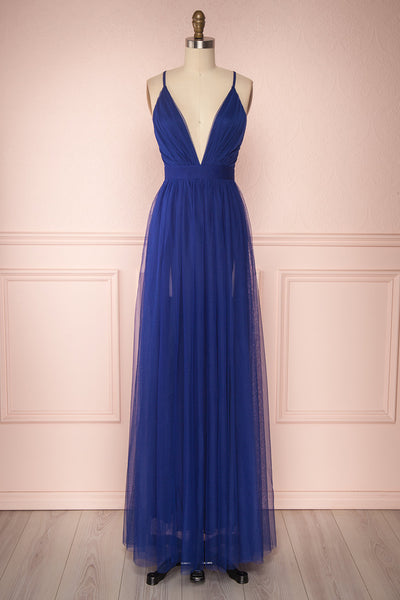 Aliki Navy Blue Mesh Maxi Dress | Boutique 1861