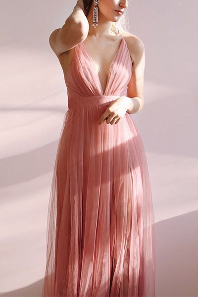 Aliki Dusty Pink Mesh Maxi Dress | Boutique 1861 on model