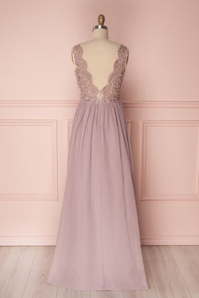 Alitta Mauve Lilac Embroidered Bodice Maxi Dress | Boudoir 1861 6