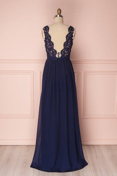 Alitta Navy Blue Embroidered Bodice Maxi Dress | Boudoir 1861 6