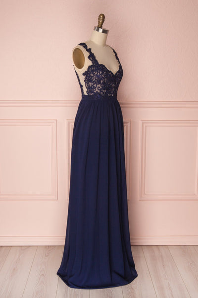 Alitta Navy Blue Embroidered Bodice Maxi Dress | Boudoir 1861 5