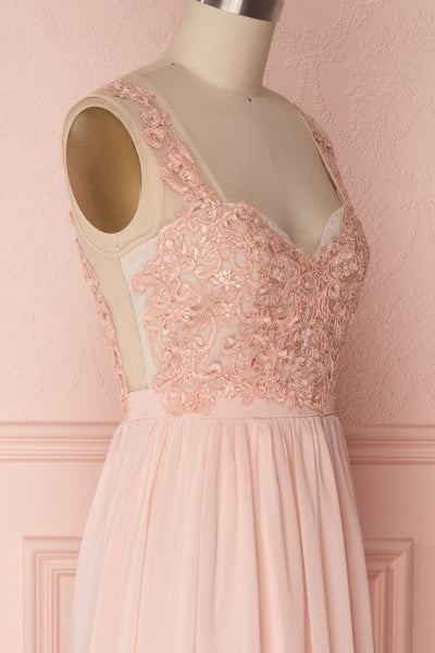 Alitta Pink Embroidered Bodice Maxi Dress | Boudoir 1861 4