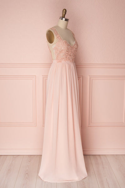 Alitta Pink Embroidered Bodice Maxi Dress | Boudoir 1861 5