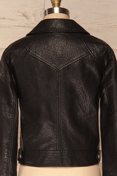 Almada Black Faux Leather Motorcycle Jacket | BACK CLOSE UP  | La Petite Garçonne